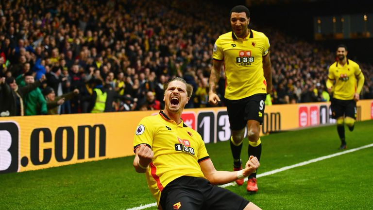 Sebastian Prodl scores Watford's second goal against Everton