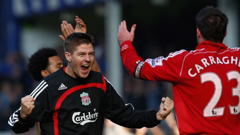 Steven Gerrard and Carragher celebrate victory