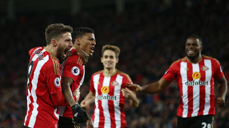Patrick van Aanholt of Sunderland celebrates his winner