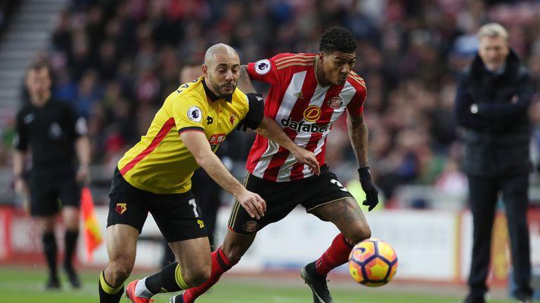 Nordin Amrabat of Watford makes a challenge on Sunderland's Patrick van Aanholt