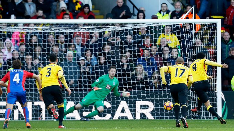 Troy Deeney equalises for Watford from the penalty spot