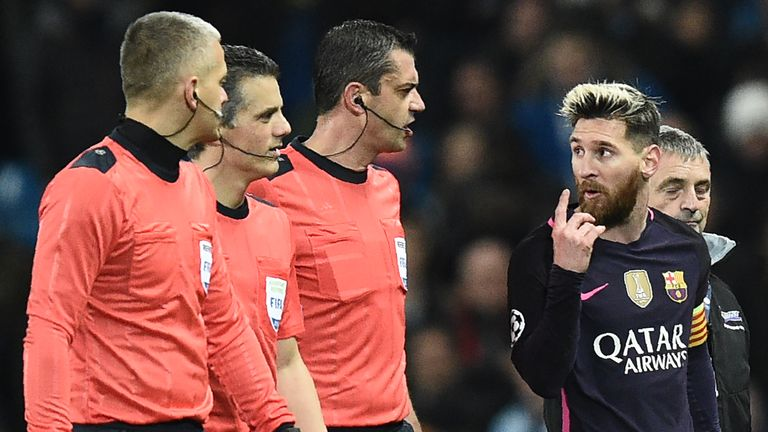 Hungarian Victor Kassai (centre) refereed November's clash between Man City and Barcelona
