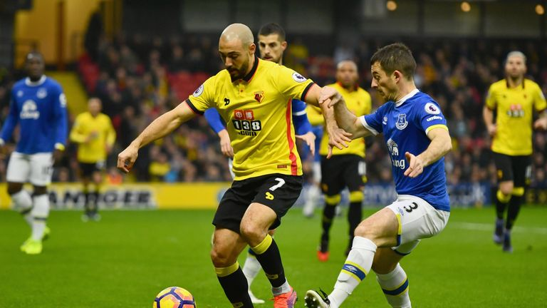 Nordin Amrabat jostles with Leighton Baines for possession