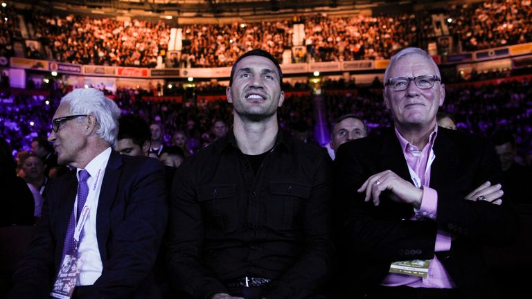 Hearn (right) has predicted that Klitschko will suffer a crushing defeat against Joshua
