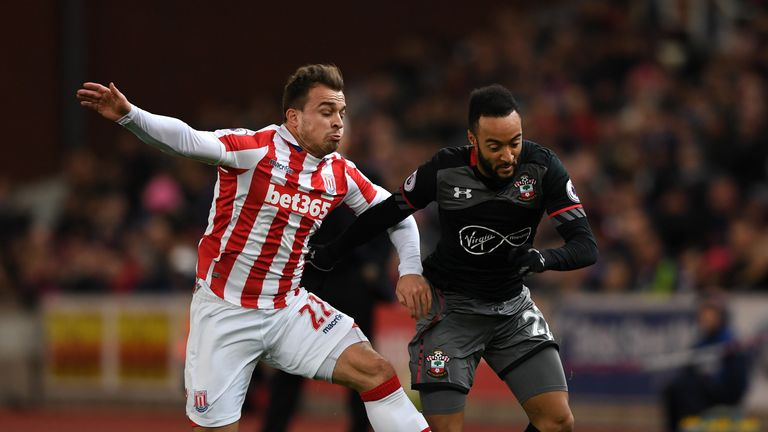 Stoke's Xherdan Shaqiri will face Nathan Redmond of Southampton on Sunday