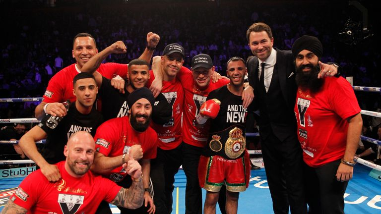 Kal Yafai celebrates with his team after a dominant win