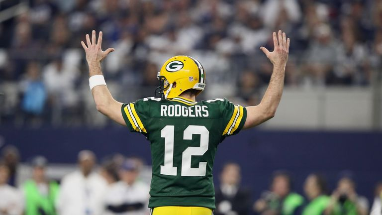 Green Bay Packers quarterback Aaron Rodgers celebrates another touchdown