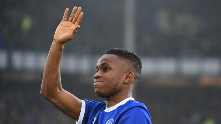 New Everton signing Ademola Lookman applauds supporters before kick-off. He was unavailable to play as he is cup-tied