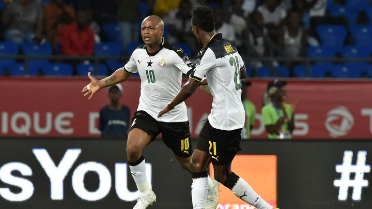West Ham striker Andre Ayew celebrates Ghana's winner