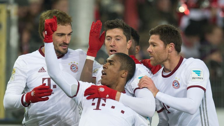 Douglas Costa (centre) is thought to be a target for Juventus, Manchester City, Manchester United and PSG