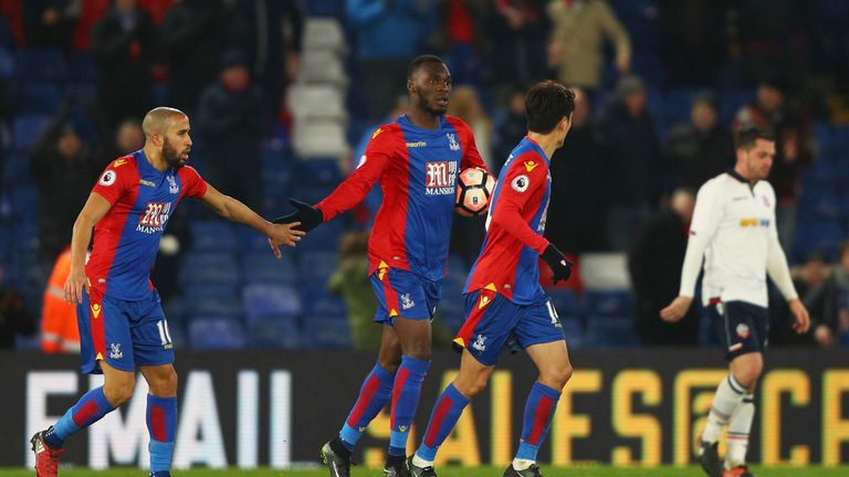 Christian Benteke celebrates after equalising for Crystal Palace against