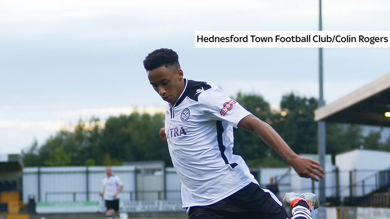 Cohen Bramall in action for Northern Premier club Hednesford Town (credit: Hednesford Town Football Club/Colin Rogers)