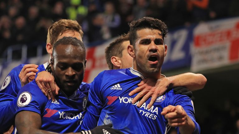 Diego Costa celebrates after scoring Chelsea's opener against Hull