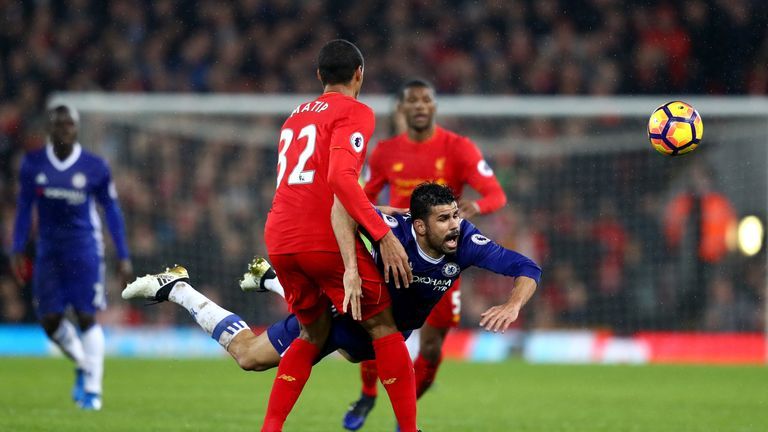 Diego Costa of Chelsea and Joel Matip of Liverpool compete for the ball
