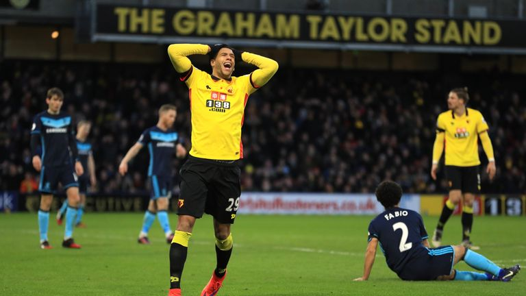 Watford's Etienne Capoue shows his frustration after a missed chance against Middlesbrough
