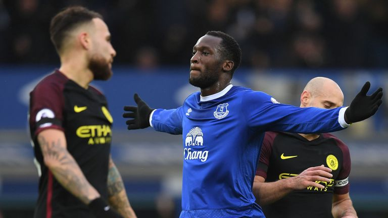 Romelu Lukaku celebrates after he put Everton ahead at Goodison Park
