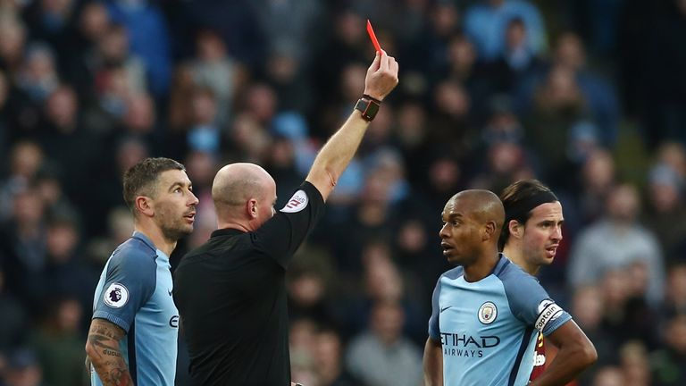 Manchester City's appeal against the red card picked up by Fernandinho has been rejected