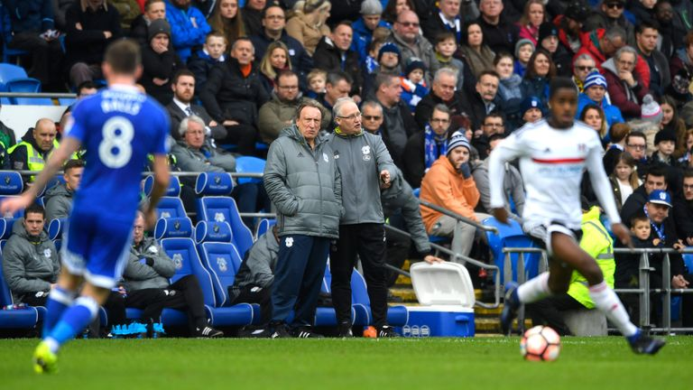 Cardiff manager Neil Warnock assesses the action
