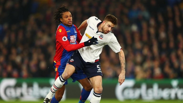 Loic Remy of Crystal Palace (L) and Mark Beevers of Bolton in FA Cup action