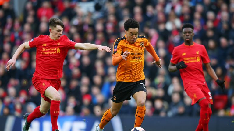 Helder Costa takes on Liverpool youngster Ben Woodburn