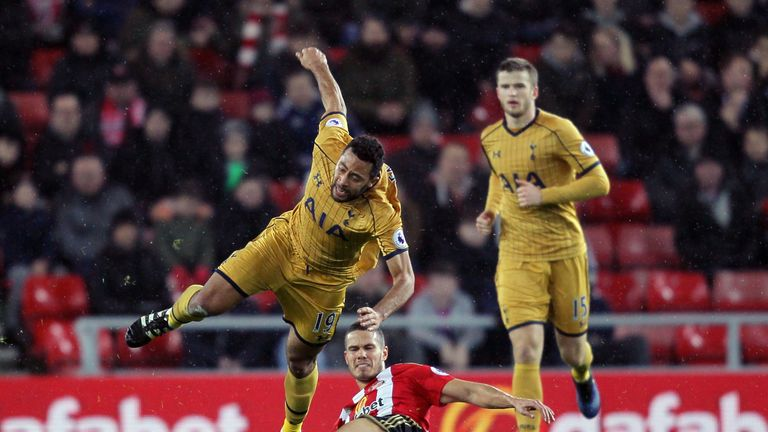 Dembele is brought down by Jack Rodwell during Tottenham's 0-0 draw at Sunderland