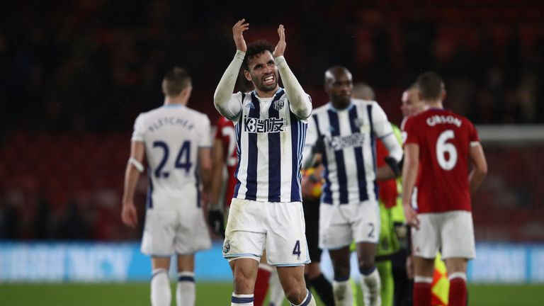 Hal Robson-Kanu of West Bromwich Albion applauds at the end