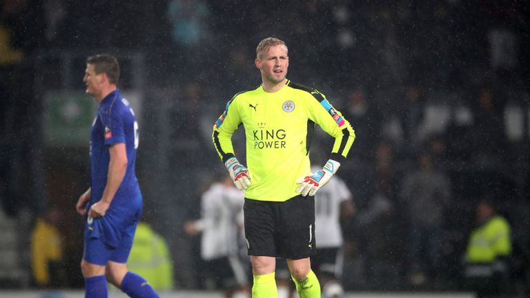 Kasper Schmeichel looks dejected as Leicester toiled
