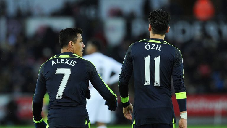Sanchez has scored 22 times for Arsenal this season, while Ozil has contributed nine goals
