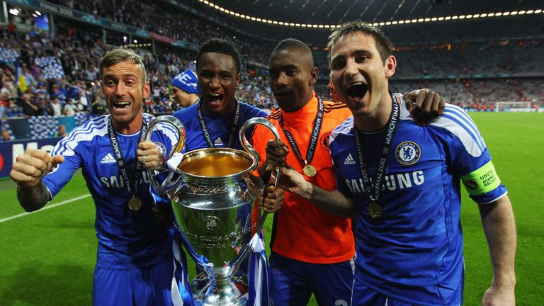 Mikel (second left) was part of Chelsea's Champions League winning side in 2012