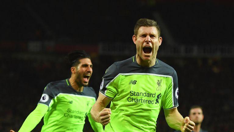 James Milner celebrates after her opens the scoring for Liverpool