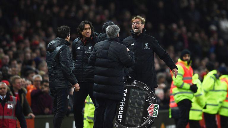 Jose Mourinho and Jurgen Klopp exchange words on the touchline last season