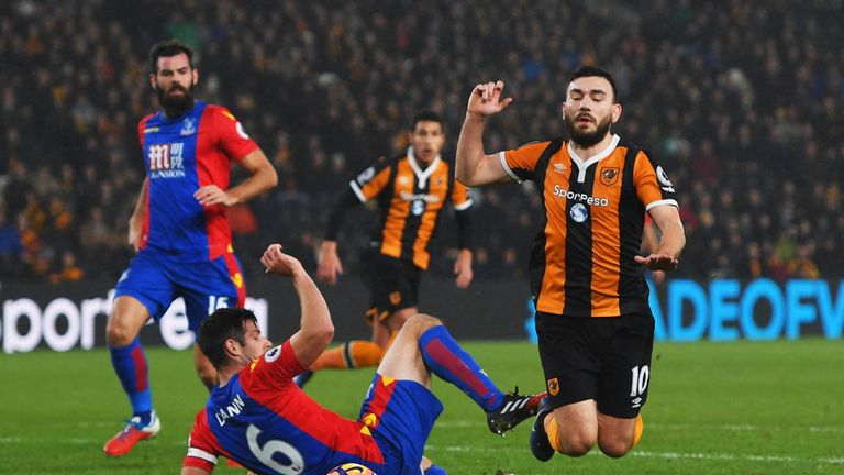 Robert Snodgrass denied diving to win a penalty for Hull against Crystal Palace in December