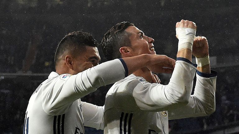 Real Madrid forward Cristiano Ronaldo (left) celebrates a goal with team-mate Casemiro
