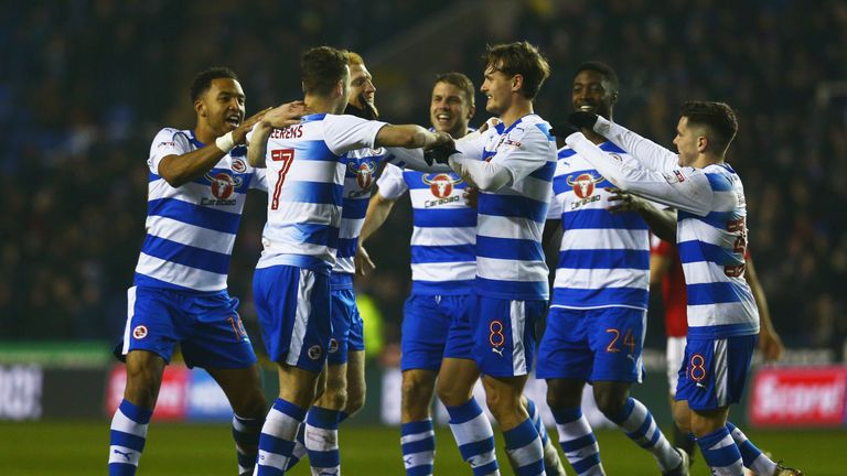 Reading celebrate their winning goal on Tuesday evening