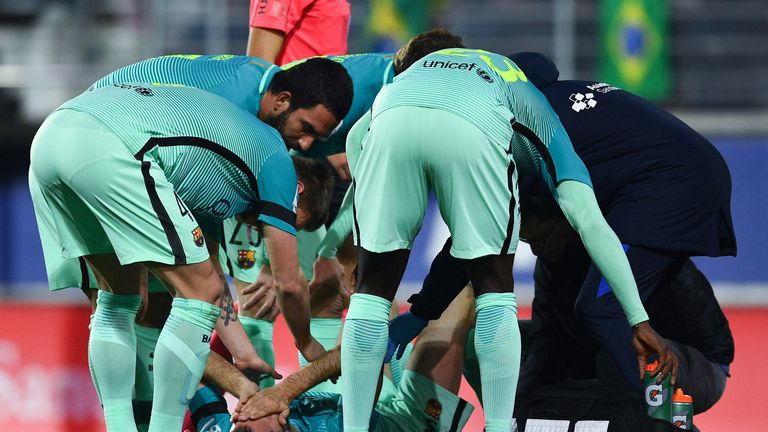 Barcelona midfielder Sergio Busquets had to be stretchered off at Eibar with sprained ligaments in his right ankle