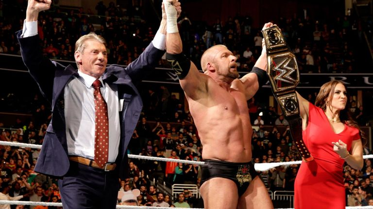 Triple H and the McMahon family celebrate his 2016 Royal Rumble win