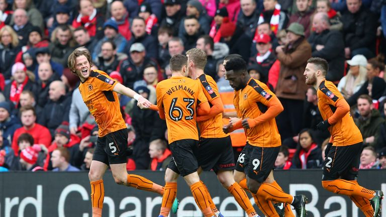 Wolves players celebrate Richard Stearman's opener