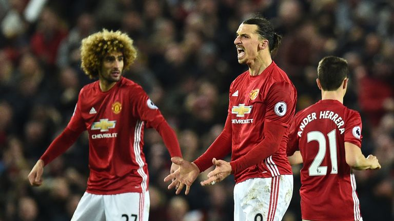 Zlatan Ibrahimovic (right) and Man Utd have not lost in the Premier League since going down 4-0 at Chelsea in October