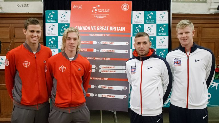 From left to right: Vasek Pospisil and Denis Shapovalov of Canada, Dan Evans and Kyle Edmund of Great Britain