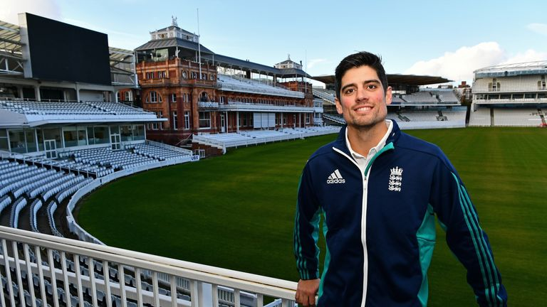 Cook, pictured at Lord's as he announced his resignation as England captain