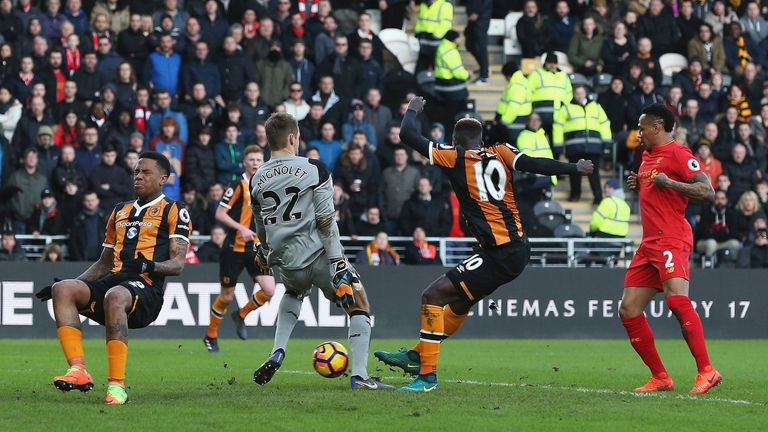 Alfred N'Diaye scored for Hull in their 2-0 win over Liverpool