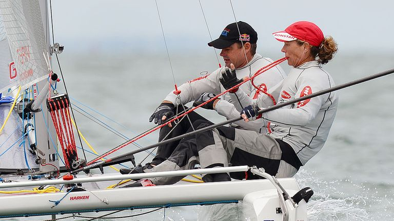 Brouwer in action with Belgium's Darren Bundock in the Viper class at a Sailing World Cup event