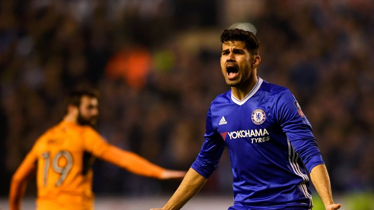 Diego Costa in action for Chelsea in the fifth-round clash with Wolves