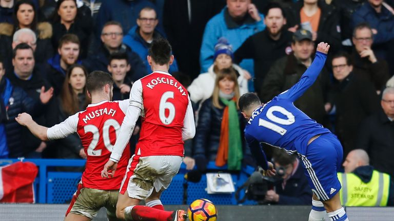 Eden Hazard (right) scores Chelsea's second goal