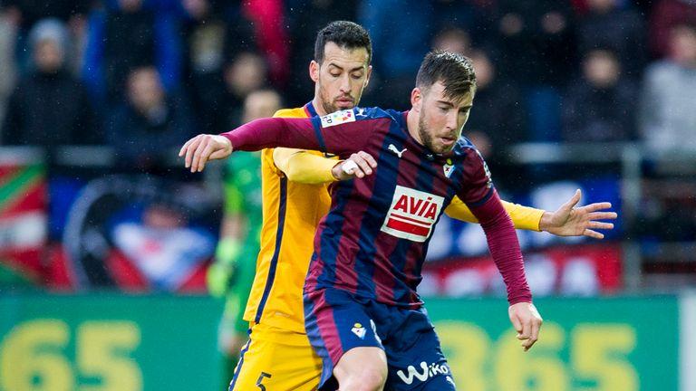 Sergi Enrich (right) was Eibar's match winner against Girona