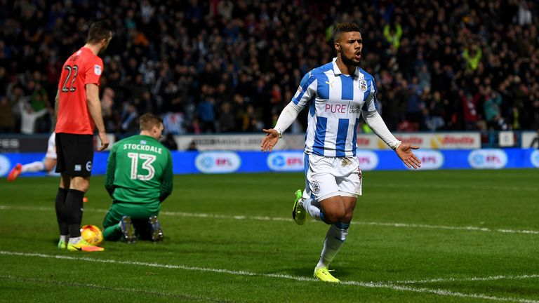Elias Kachunga sealed Huddersfield's 3-1 victory over Brighton in the Championship in February