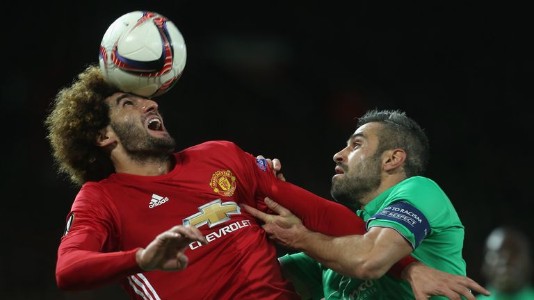 Marouane Fellaini was selected to start for United on Wednesday