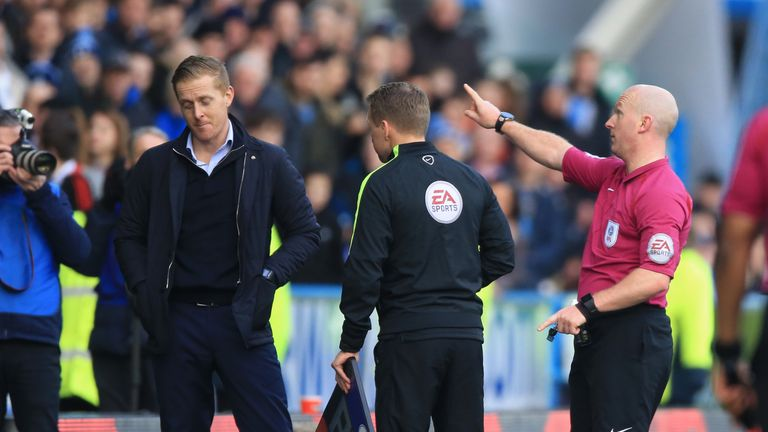 Leeds United manager Garry Monk is sent to the stand by referee Simon Hooper