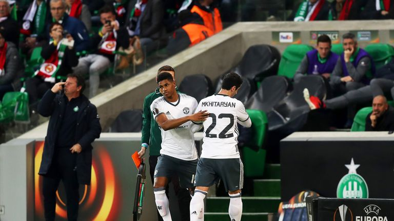 Henrikh Mkhitaryan was substituted in Wednesday's Europa League win at St Etienne