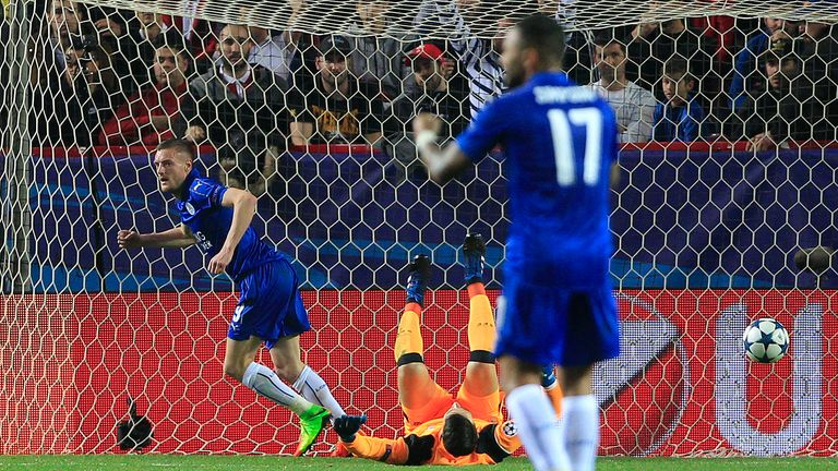 Vardy celebrates after his goal